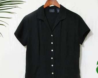 Vintage 90s Laura Scott black button down blouse