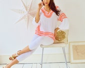 White with Neon Orange Embroidery Short Resort Tunic Cover up-holiday wear, beachwear, beach wedding, maternity, shirt, gifts
