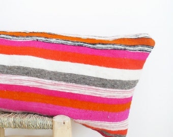 Moroccan Wool Pillow Cover - Long in Multicolored Stripes