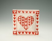 """Red and White 6"""" Square Heart Plate Hand Painted Valentine Dinnerware"""