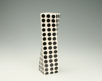 Black and White Polka Dots Vase, Mod, Modern, Graphic, Retro Twisted Vase Hand Painted Flower Twisted Spin Container