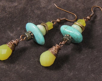 Caribbe earrings: wire wrapped serpentine, turquoise magnesite, jade, pyrite, copper