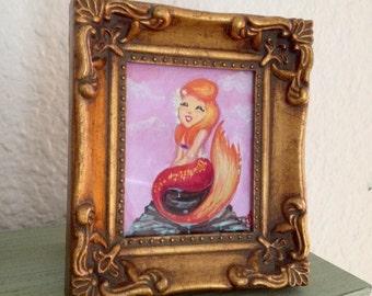 Original Mini Framed Art Mermaid painting by Amanda Christine 4x3 inches