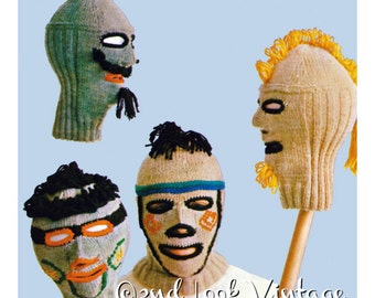 Vintage Knitting Pattern Creepy Balaclava Ski Mask Helmet Mohawk Beard Set 1960s Digital Download PDF