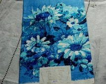 Vintage Linen Dish Towel, Blue Floral, Never Used, Made in Poland, Original Label Attached, 100% Linen