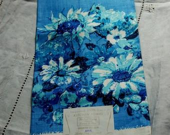 Vintage Linen Dish Towel, Blue Floral, Never Used, Made in Poland, Original Label Attached, 100% Linen