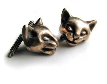 Cat cuff links bronze and titanium