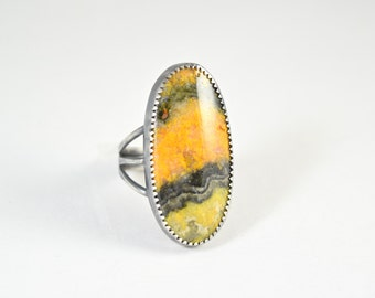 Bumblebee Jasper Ring - Natural Gemstone Ring in Size 6 - Bumblebee Jasper Jewelry