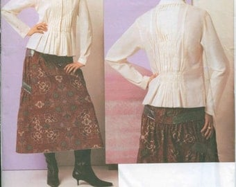Issey Miyake Pin Tucked Long Sleeve Shirt Flared Midi Skirt Vogue 2761 OOP Uncut FF Sizes 14 16 18 Bust 36 38 40 Women's Sewing Pattern