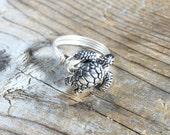 size 7.5 , 7 1/2 - silver wire wrapped metal Sea Turtle ring - beachy ocean men women unisex teen girl boy jewelry - animal totem