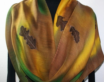 Green, Brown, Yellow Hand Painted Silk Wool Shawl GOLDEN FOREST. Large Warm Scarf 14x68. Silk Scarves Colorado. Elegant Silk Gift
