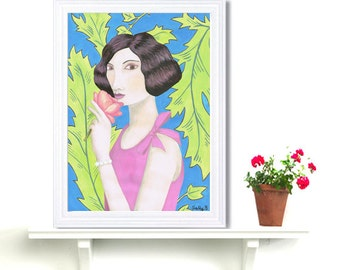 Folk Flapper With A Rose Lady Art Print Acrylic Painting Digital Print Wall Art Fashion Drawing Naive Art Roaring 1920 Wall Decor Whimsical