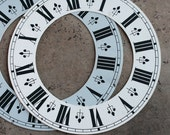Large Vintage Clock Dial -- white and grey