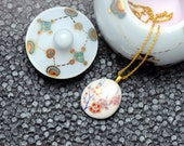 Porcelain necklace, white with Cherry Blossoms