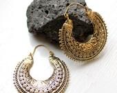 Bohemian Earrings Gypsy Ethnic Brass Antique Gold plated Earrings Half Moon Ornate Hoop Drop Earrings engraved ornate Basket shape