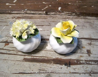 Flower Topped English Bone China Salt and Pepper Shakers