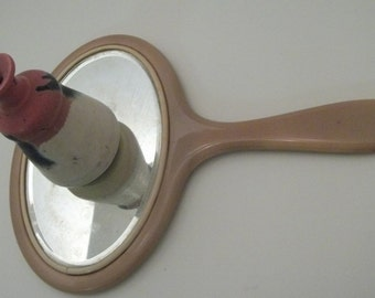 "Vintage 1930-40s Large Celluloid Hand Mirror/Art Deco Celluloid Vanity Mirror Large-10""x7.2"", Hand held Vanity Mirror, Celluloid Hand Mirror"