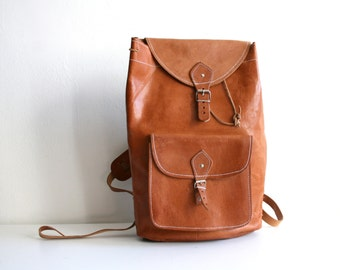 Classic British Tan Leather Backpack
