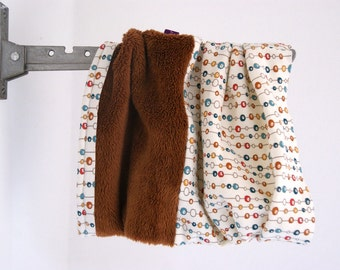 Toddler Infinitiy Scarf with dots - brown with circles