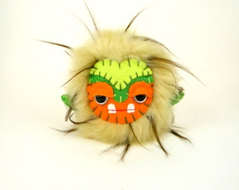 Stuffed Monster Toy - Free Domestic Shipping - Plush Monster - Stuffed Animal - Small Stuffed Animal - Fluffy Animal - OOAK toy