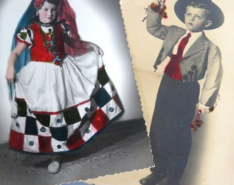 2 Vintage HALLOWEEN Costume Children, Real Photo Hand Tinted Postcards, Spanish Senorita Girl & Toreador Bull Fighter Boy, 1940s