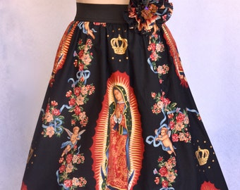 Women's Virgen de Guadalupe, Alexander Henry, Retro, Black Cotton Skirt, Elastic Waistband and Embellished Rose Hair Clip