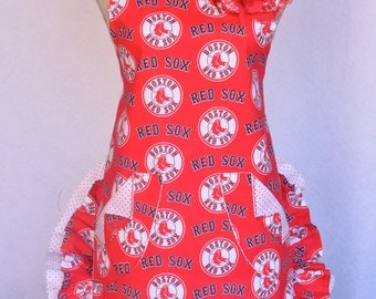 Women's Apron, Red Sox Print, Red and White Polka Dots, Baseball Apron