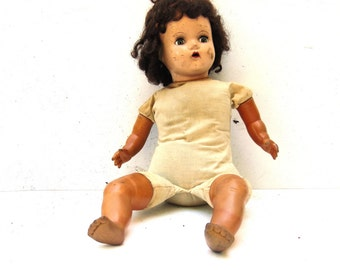 Old Creepy Composition Doll, Vintage Horsman Doll, 1930s 1940s Composition Doll
