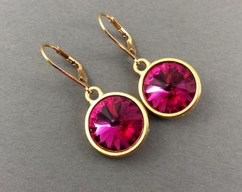 Gold Crystal Earrings With Fuchsia Swarovski Crystal Rivoli Stone