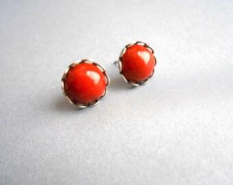 Silver Earrings In Oxidized Silver Lace Settings With Red Jasper Gemstone