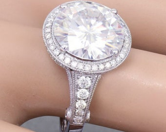 18k White Gold Round Cut Forever One Moissanite and Diamond Engagement Ring 5.00ctw