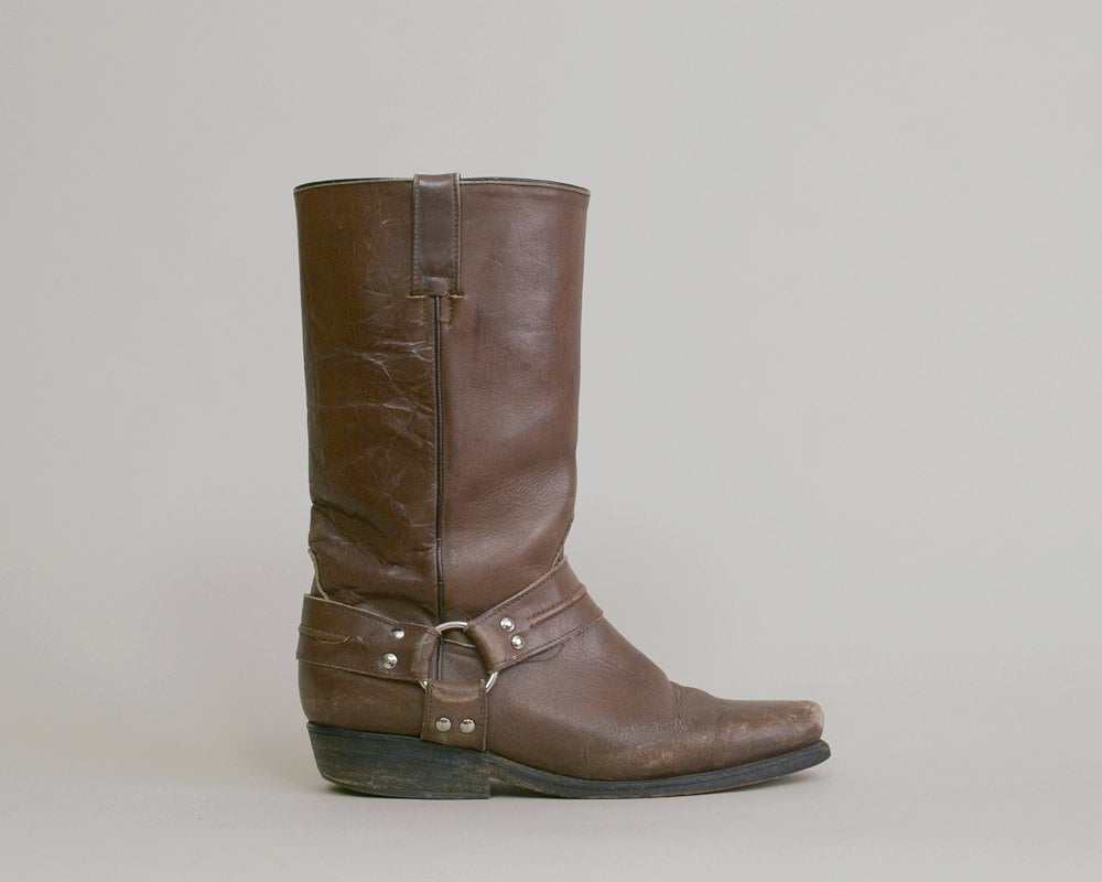 motorcycle boots 70s chocolate brown leather distressed