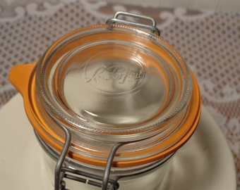 Vintage Clear French Canning Jar with Glass Lid  -  16-389