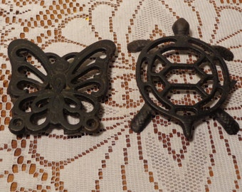Vintage Turtle and Butterfly Cast Iron Trivets - Small Black Trivets  -  16-484