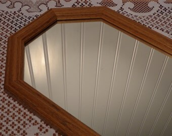 Vintage Wall Mirror with Wood Frame  - Large Hanging Mirror  -