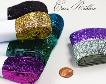 1~4 of 5 Yards 1 inch 25mm Sparkle Metallic Glitter Velvet Ribbon - 16 Colors