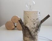 white birch forest lamp - exposed bulb lamp, natural wood lamp, rustic lamp, desk lamp, rustic decor, natural lighting, birch log lamp