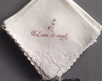 Handkerchief - Hand embroidered bridal handkerchief