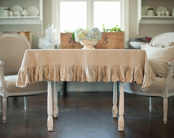 Ruffled Linens Tablecloth with a 6 inch ruffle