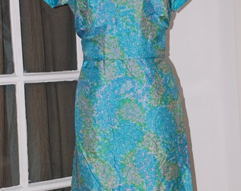 50s Dress, Silk, 2 Piece, Skirt, Top, Watercolor Floral, Custom, Size M/L