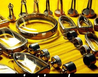Wholesale Lockets, Terrarium Kit, Reliquary Supplies, Japanese Moss Ball, Craft Supplies, Locket Blanks, Shadow Box, Vials, Domes, 25pcs