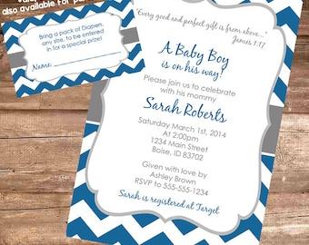 BLUE & GREY CHEVRON Birthday Party/Baby Shower Invitation - 4x6 Digital File