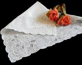 Vintage Wedding Handkerchief Beautiful Whitework Appenzell Style Embroidery Flowers Butterfly Scrollwork White on White Linen Bridal Hankie