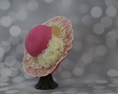 Tea Party Hat; Pink Easter Bonnet with Ribbon; Girls Sun Hat; Pink Easter Hat; Sunday Dress Hat; Derby Hat; 16270