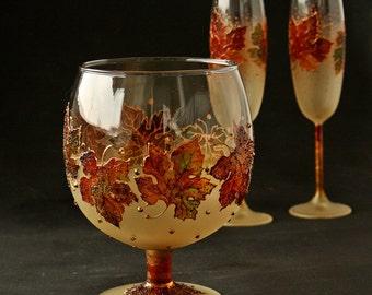 Candle Holder, Glass Vase, Fall Decor, Autumn Decor, Wedding Centerpiece ,Hand Painted,