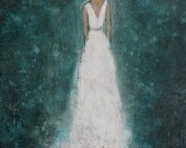 Figure Painting Bride painting daughter painting Ballroom Dancer textured Figurative Of Dreams  11 x 14  Swalla Studio