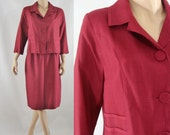 Vintage Sixties Skirt Suit - 1960s Maroon Jacket and Pencil Skirt Set - 60s Silk Linen Skirt Suit - Small