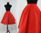 Vintage Fifties Skirt - 1950s Red Circle Skirt - 50s Rhinestone Full Skirt - XS Cotton Circle Skirt - Full 50s Skirt - Extra Small Skirt