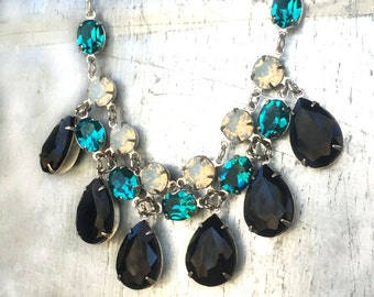 Wedding Bib Necklace - Crystal Statement Necklace - Custom Statement Necklace - Bridal Statement Necklace - Turquoise Wedding Necklace
