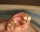 Woodland Ear Cuff - Crystal No Pierce Earring - Crystal Ear Cuff - Leaf Ear Wrap - Gold Leaves Ear Cuff - Gold Ear Cuff - LOTR - Elvish